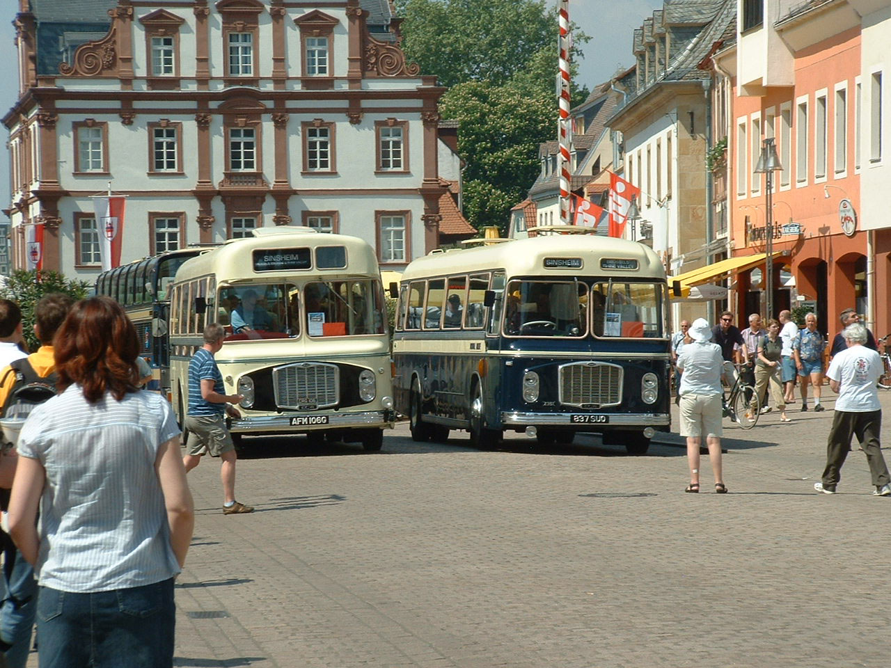 Royal Blue & Crosville RELHs in Speyer Town Centre