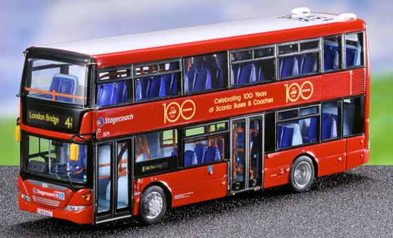 Scania Omnidekka dual-door in Stagecoach London colour with special Scania 100 Years special decorations